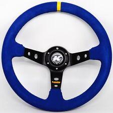 KODE-350mm Deep Dish Blue Suede Steering Wheel Black Stitch Fit 6x70mm PCD Boss