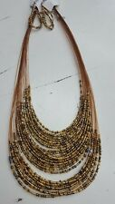 Layered Beads Strings Necklace  Earrings Set COSTUME FASHION JEWELERY  ACCESSORY