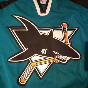 Vtg 90s San Jose Sharks Jersey CCM  Mens Size XL Air-Knit Blank Back EUC Hockey