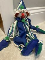 """Vintage Hand made 13"""" Cute & Creepy Clown Stuffed Doll Collectible Sitter"""