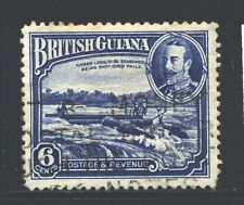 BRITISH GUIANA 214 SG292 Used 1934 6c KGV Defin Shooting Logs over Falls Cat$8