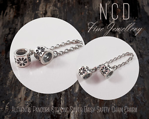 NC Designs Authentic Pandora Sterling Silver Daisy Safety Chain Charm 790385