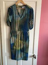 Trinny & Susannah Ladies Size 14 Yellow Turquoise Striking Bodycon Dress ⭐️