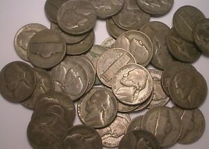Lot of 40 (1 roll) Mixed Date Wartime Nickel Silver Coins
