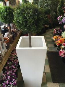 Tall White Planter Garden Retro Furniture