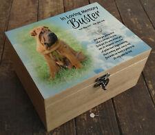 Personalised memorial casket urn, pine wooden box, memory keepsake, Shar Pei dog