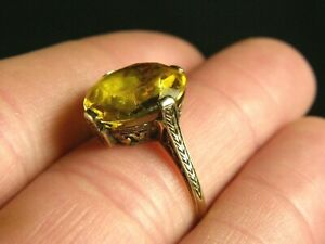 Antique Victorian 14K 585 Solid Yellow Gold Art Deco Nouveau Yellow Citrine Ring