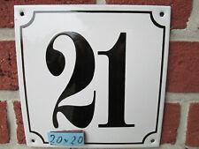 Hausnummer Mega Groß  Emaille Nr 21 schwarze Zahl weißer Hintergrund 20cmx20 cm