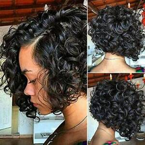 Women Black Short Curly Wigs African American Natural Wavy Afro Hair Full Wig