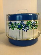 Vtg Metal Picnic Pal Food Carrier Cake, Pie, Other - Retro Flowers