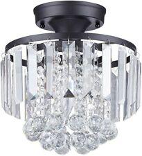 Semi Flush Chandelier Light Fixture Modern Ceiling Black Crystal Mount Metal 2