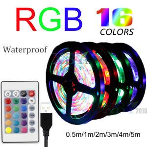 RGB LED Light Strip Waterproof USB String Lights Bar For TV Back +Remote Control