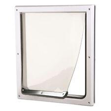 2-Way Dog Door Pet Flap 12 x 14.75 in. White Plastic Frame Access Lockable Panel