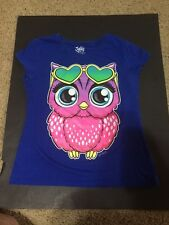 Justice For Girls Shirt Owl Blue Pink Size 14 Euc Ships $0
