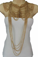 Women Gold Metal Long Fringes Necklace Wide Chains Wave Shouldrs Fashion Jewelry
