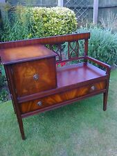 Flame Mahogany Bench/Hall/Window Seat with Cupboard and Drawer
