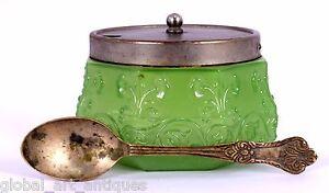 Vintage Green glass Table Decorative Sugar / Salt Bowl - Spice Bowl. G16-132
