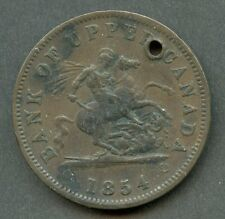 CANADA 1854 BANK TOKEN ONE PENNY WITH  HOLE  HAVE FUN GRADING AND BIDDING SHOWN