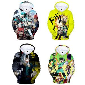 3D Anime Boku no My Hero Academia Hoodie Casual Sweater Pullover Sweatshirt