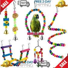 New listing 6 piezas Bird Parrot Toys, Bird Swing Toy Colgante de masticación colorido