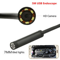 7mm HD 6LED USB Endoscope Car Engine Tube Borescope Inspection Camera Android PC