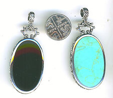 """925 Sterling Silver Turquoise & Black Onyx Reversible Lge Oval Pendant over 2"""""""