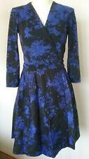 Diane von Furstenberg DVF Blue Valerie Floral Bloom Wool Silk Wrap Dress 4 $598