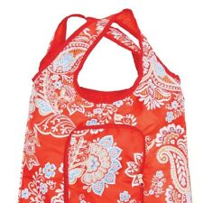 Reusable Shopping Bag Foldable Zippered Travel Tote Bag Floral Red
