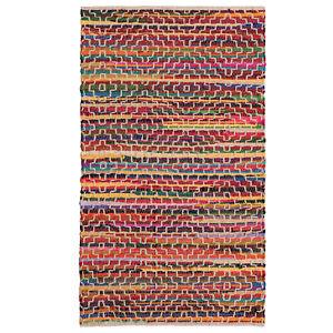 Mandira Recycled cotton rag rug with stitch detail