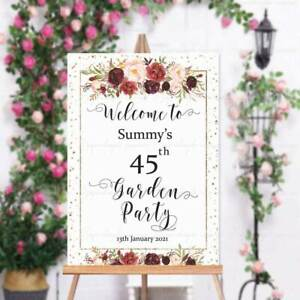 Personalised Signs Birthday Party Welcome to Floral Gold pink red 18 21st 60 4HB