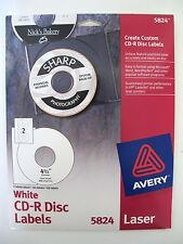 Avery 5824 White Laser Cd R Disc Labels 20 Sheets 40 Labels 4 12