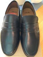 NWB CLARKS Black Leather Astute Drop Shoes Size UK 7 Extra Wide Fit H Business