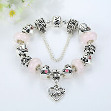 20cm European Silver Love U Heart Charm Bracelet with MURANO GLASS BEAD LAMPWORK