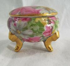 Vintage1.5 Inch Keepsake Decorative Porcelain Footed Holder Colorful Flowers