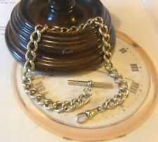 Antique Pocket Watch Chain 1890s Victorian Large Silver Nickel Albert With T Bar