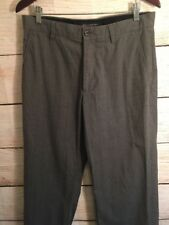 Banana Republic Men's Pants Flat Front 33/32 Grey Plaid Casual Cotton Trousers