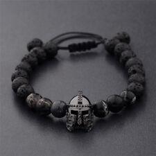 Men Black Charm Spartan Helmet Beaded Natural Stone Adjustable Macrame Bracelet