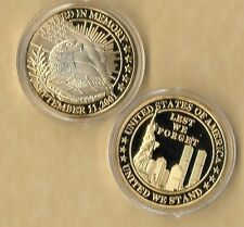 Lest We Forget 911 9-11 Challenge Commemorative Medallion Gold Coin New