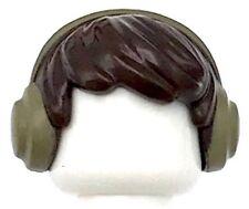 Lego New Dark Brown Minifig Hair Short Tousled with Dark Tan Earmuffs Pattern