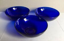 "Set of 3 Vintage Cobalt Blue Glass Bowls 5.5"" Diameter"