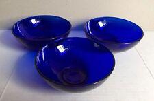 """Set of 3 Vintage Cobalt Blue Glass Bowls 5.5"""" Diameter"""