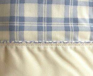 Vintage NEW Laura Ashley TWIN FLAT Sheet White and Blue Plaid