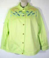 New MAGGIE SWEET Womens Medium Lime Green Embellished Embroidered Shirt Jacket