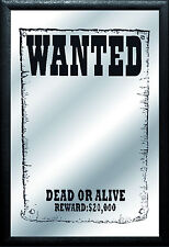 Wanted dead or alive Nostalgie Barspiegel Spiegel Bar Mirror 22 x 32 cm