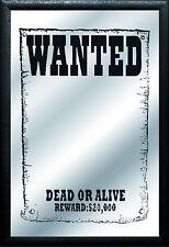 Wanted dead or alive Nostalgie Barspiegel Spiegel Bar Mirror 22 x 32 cm