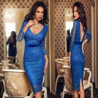 Sz 8 10 Blue Lace 3/4 Sleeve Sexy Cocktail Party Evening Midi Pencil Slim Dress