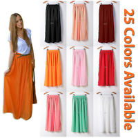 Women Maxi Skirt Double Layer Chiffon Pleated Retro Long Dress Elastic Waist New