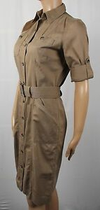Ralph Lauren Knee Length Long Sleeve Khaki Pocket Dress Belt Suede NWT $189