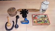 lot objet ancien fer émaillé canette métier a tisser grosse bobine bois