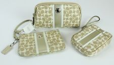Coach Wristlet Cosmetic Bag Set of Three Khaki Gold Heritage Signature Stripe